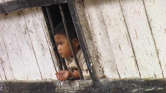 Little Karo boy at the village of Lingga, near Berastagi.