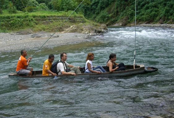Crossing the Bohorok river at Bukit Lawang