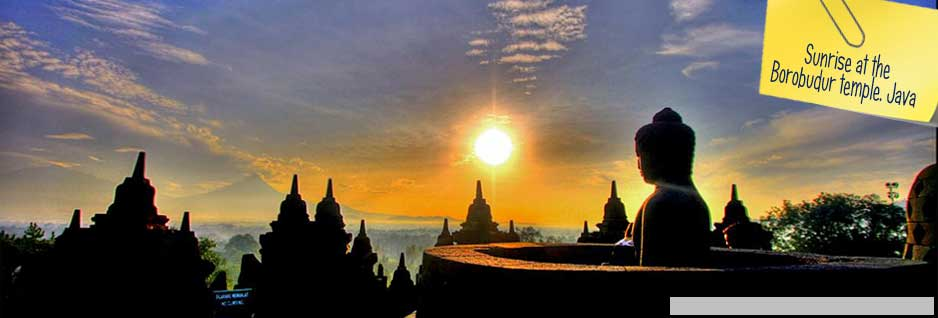 Sunrise at the Borobudur temple - Yogyakarta, Java, Indonesia